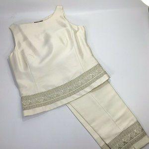 100% Silk~Ann Taylor~Capri Set~Ivory~Embroidered~